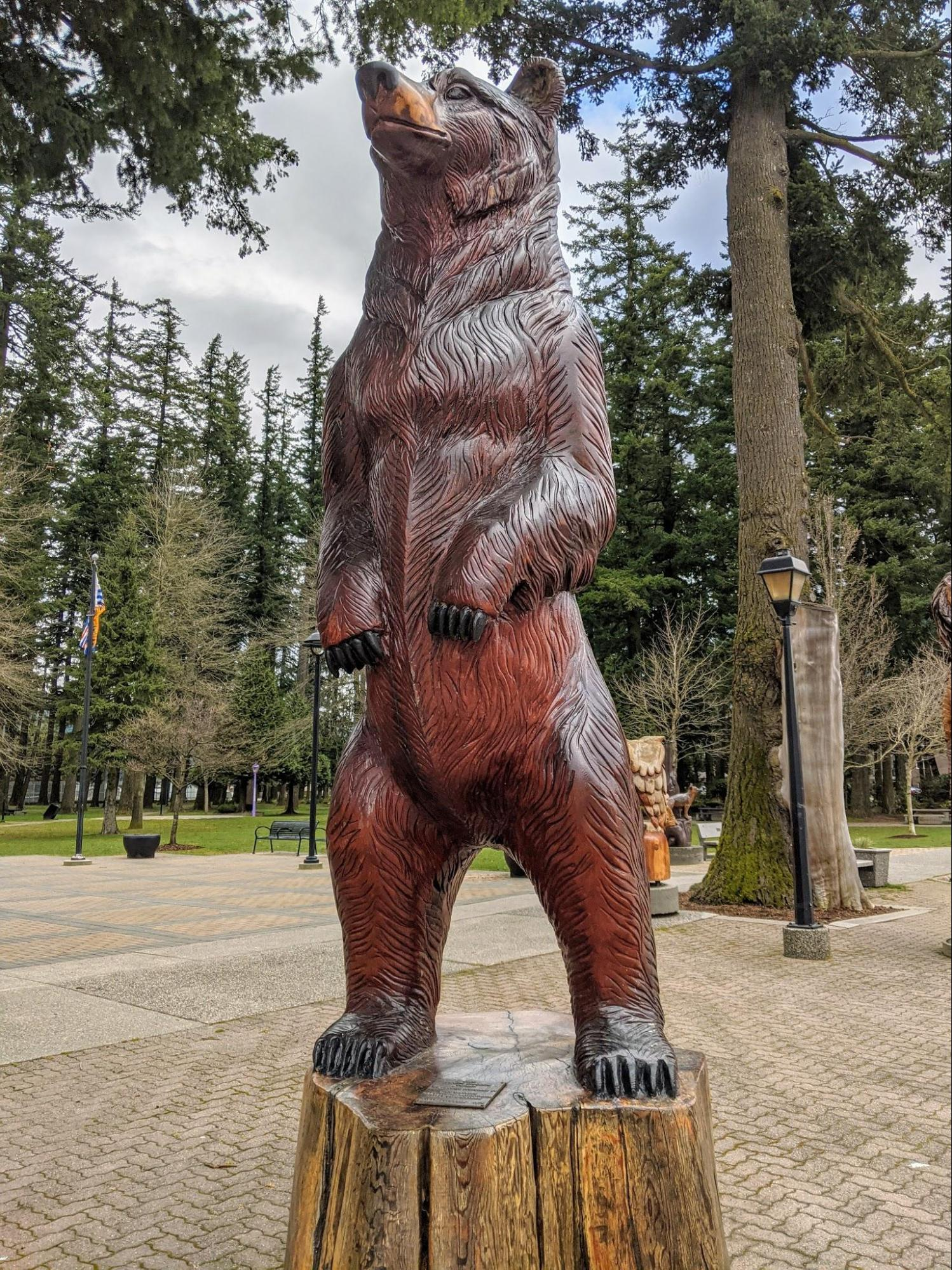 Chainsaw carving of a life-sized grizzly bear standing on it's hind legs. Carved by master carver Pete Ryan and displayed in the town of Hope, British Columbia, Canada